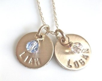 """Gold Personalized Name Charm Necklace / Hand Stamped Mommy Jewelry / """"Little Birthstones"""" - with two discs"""