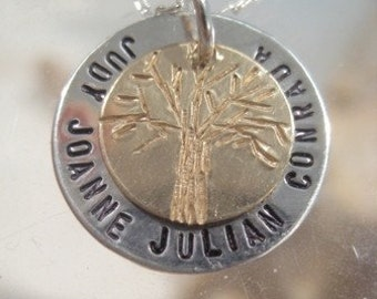 Personalized Family Necklace Hand Stamped / THE FAMILY TREE
