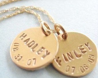 """Custom Mommy Jewelry - """"Gold Birthdates"""" necklace with 2 Discs on 14k gold filled Rope Chain"""