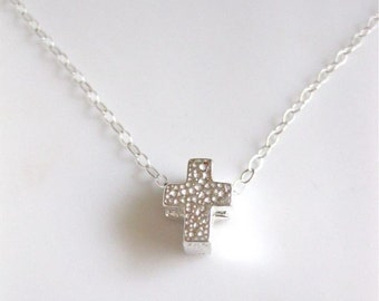 "Sterling Silver Cross  Necklace - ""A Little Kingdom"""