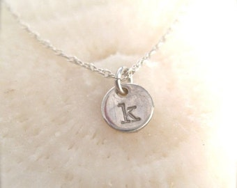 "Tiny Initial Charm - ""Initial Droplet"" Necklace in Sterling Silver"