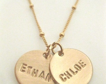 "Gold Name Charms Personalized Necklace - ""Pretty Little Names in GOLD"" - with 2 discs"