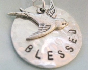 "Inspirational Jewelry Bird Necklace - ""Blessed"" in silver"