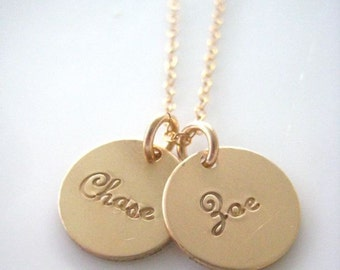 Two Gold Discs Personalized in Script
