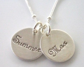 "Mommy Necklace in Script -""Pretty Little Names in Sterling"""