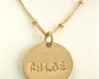 "Delicate Charm Necklace-""Pretty Little Name in GOLD"" - with 1 disc"