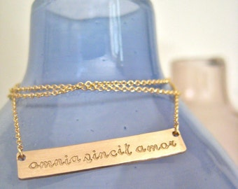Long Gold Bar Necklace - Love Conquers All - Horizontally Speaking