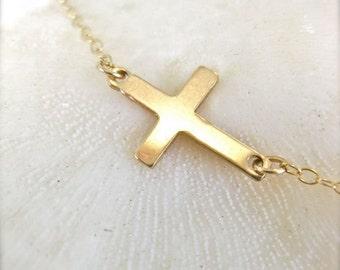 Sideways Cross Necklace in Gold