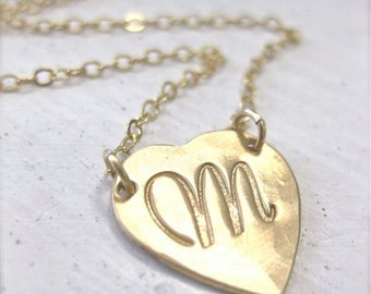 Lucky Heart Script Initial Necklace- Gold, Personalized and Hand Stamped