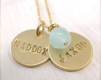 Gold Personalized Hand Stamped Mommy Necklace / Two Gold Discs Personalized with an Aqua Chalcedony Bead