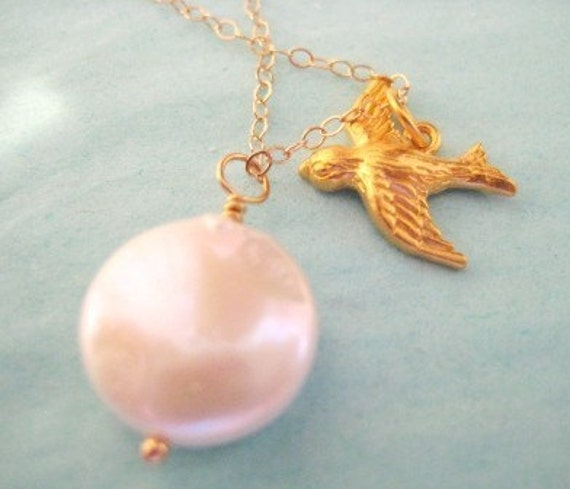 """Gold Bird Necklace -""""Learning to Fly"""""""