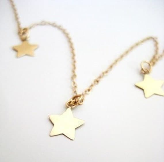 "Gold Stars Necklace - ""Three Lucky Stars"""