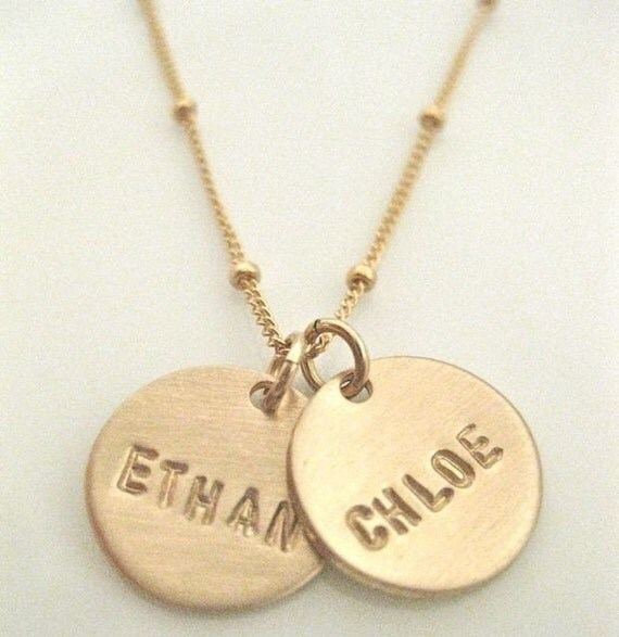 gold name charms personalized necklace pretty