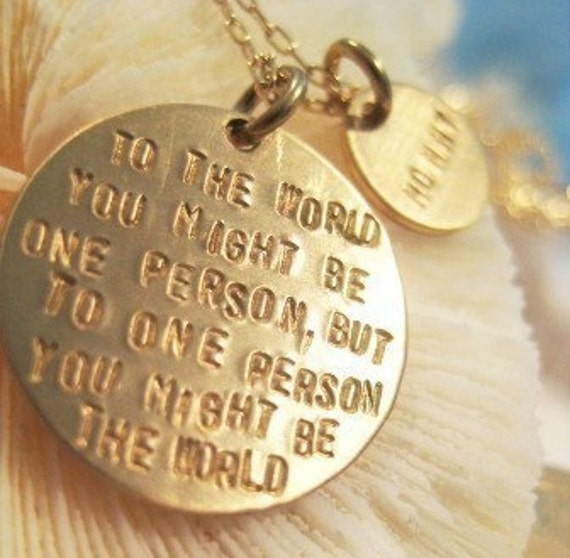 "Inspirational Quote Necklace -  ""For Mommy, My World"""
