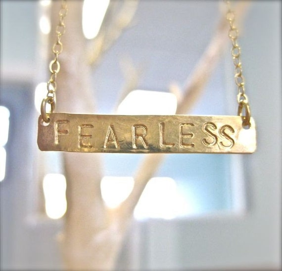 FEARLESS Necklace - Long Gold Horizontal Bar