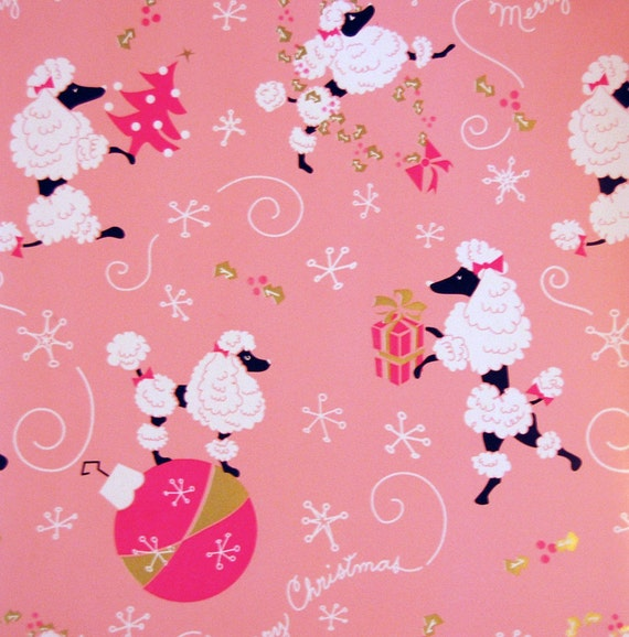 Pink Poodle Merry Christmas Gift Wrap Paper Roll