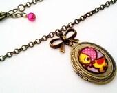 Little Miss Ducky Cameo Locket - Antique Brass Formal EGL Kawaii