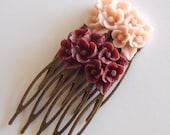 Maroon Blush Antique Brass Flower Hair Combs  Wedding Victorian Shabby Chic Regency Simple Chic Tribal Austen