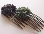 Dark Purple Grey Antique Brass Flower Hair Combs  Wedding Victorian Shabby Chic Regency Simple Chic Tribal Austen