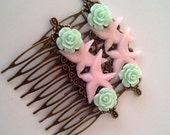 Mint Green Pink Swallow Hair Combs Birds Rockabilly Regency Shabby Chic Sparrows Trendy Cottage Not Steampunk Whimsicle