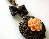 Peach Cluster Rose Locket Necklace - Everyday Jewelry