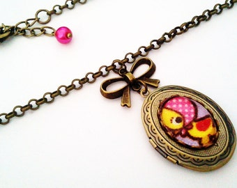 Little Miss Ducky Cameo Locket - Antique Brass Formal EGL Kawaii