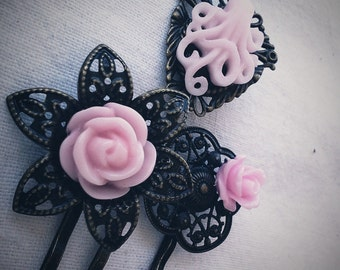 Baby Pink Octopus Garden Floral Filigree Antique Brass Bobby Pin Set Formal Chic Roses Regency Wedding EGL EGA Everday