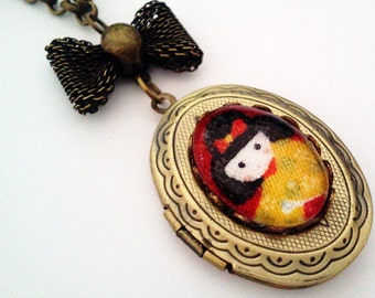 Kokeshi Girl Cameo Locket - Antique Brass Formal EGL Ega Kawaii