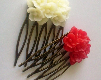 Red Ice White Antique Brass Flower Hair Combs  Wedding Victorian Shabby Chic Regency Simple Chic Tribal Austen