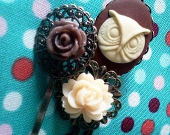 Woodland Owl Hair Pin Set Cameo Filigree Antique Brass Bobby Pin Set Formal Chic Roses Regency EGL EGA Kawaii Kitsch Neon Bright