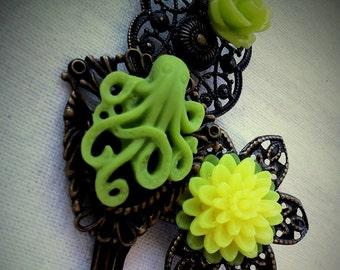 Neon Lime Green Octopus Garden Floral Filigree Antique Brass Bobby Pin Set Formal Chic Roses Regency Wedding EGL EGA Everday