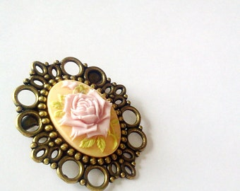 Pretty Pink Rose Brooch Pin Romantic Antique Brass Cameo Regency Rococo Victorian Marie Antoinette EGL Woman