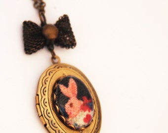 Alice  Rabbit Cameo Locket - Antique Brass Formal EGL Kawaii-Wonderland-Cute Necklace-Valentine's Gift-Sweet Lolita-Bunny-Stocking Stuffer