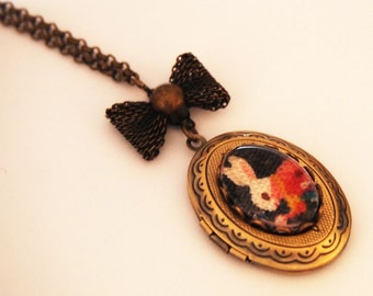 Alice in Wonderland White Rabbit Cameo Locket - Antique Brass Formal EGL Kawaii