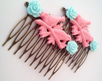 Pink Blue Birds on a Branch Hair Combs Birds Woodland Regency Shabby Chic Sparrows Trendy Cottage Not Steampunk Whimsicle