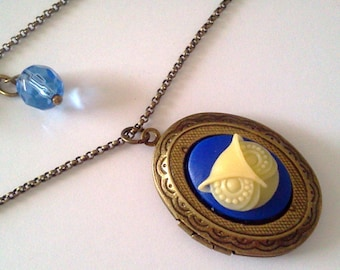Royal Blue Owl Locket