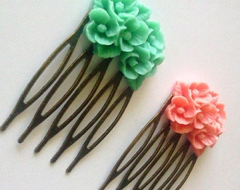 Pink Green Antique Brass Flower Hair Combs  Wedding Victorian Shabby Chic Regency Simple Chic Tribal Austen