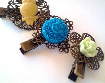 Yellow and Blue makes Green Owl  Hair Clip Set