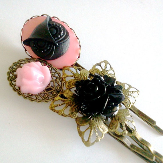 Pink Black Owl Antique Brass Bobby Pin Set - Formal Chic Roses Regency Wedding EGL EGA Everday