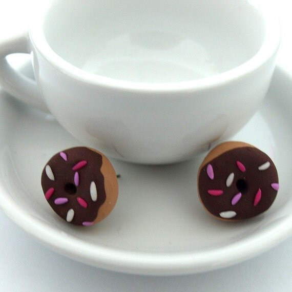 Chocolate Sprinkle Donut Earring Studs