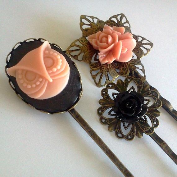 Peach Owl Antique Brass Bobby Pin Set - Formal Chic Roses Regency Wedding EGL EGA Everday