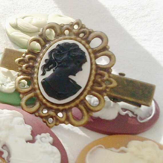 Black Aristocrat Antique Brass Cameo Hair Clips Aristocrat Regency Decadence Victorian Elegance