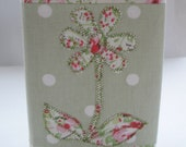 Appliqued Flower Fabric Covered Notebook Journal