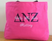 Personalized Sorority Tote Bag Custom Embroidery by Bloomingdeals