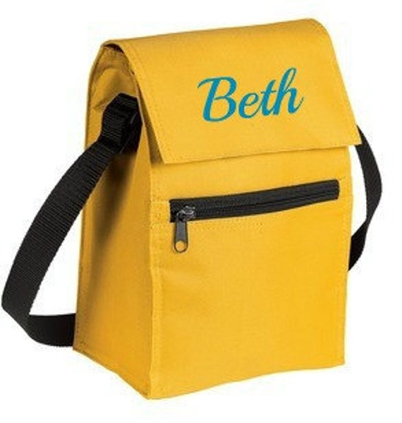 Personalized Lunch Bag for Back to School or Daycare Yellow Red Blue or Black