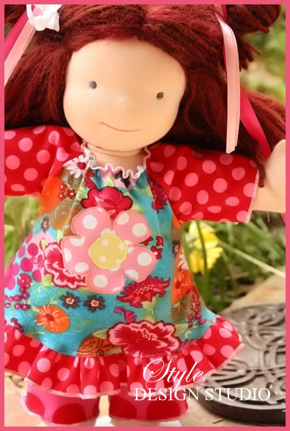 15 inch Euro Fleur Applique Doll Dress and Leggings waldorf doll clothes