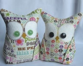 2 Owl Bookends, Doorstops, Paperweights Micheal Miller Peace fabric