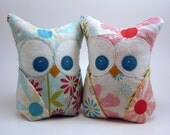 PAIR of  Owl Bookends, Doorstops, Paperweights Riley Blake fabric