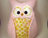 Chenille plush Owl with Amy Butler fabric READY TO SHIP