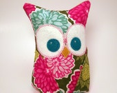 Owl bookend with designer fabric